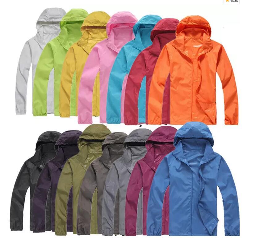FRAUEN UND MÄNNER Schnell trocknend Outdoor Casual Sport Wasserdicht UV Jacken Mäntel Windjacke mehr farben