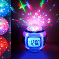 Children LED Night Light Music Starry Star Sky Led Projection Lazy Projector Alarm Clock Calendar Thermometer Best gift For Kids