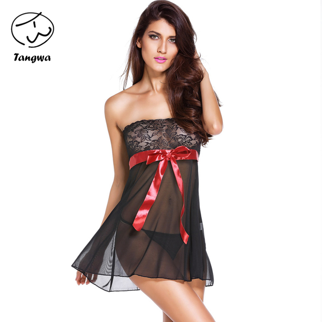 Hot Sale sleepwear  lace  tube women sexy black pink free shipping Nightgown  underwear nightwear 2017 new fashion Slash neck