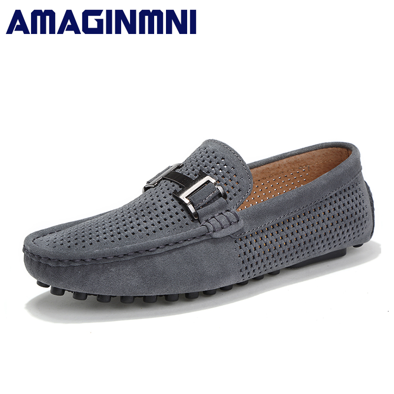 AMAGINMNI 2018 Men Casual shoes Cow Suede Leather Loafers Leather Driving Moccasins Slip on Shoes Men Comfortable and breathable