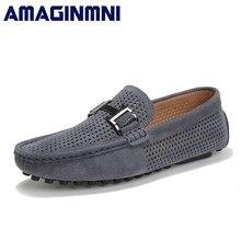 50d4cfcc9 AMAGINMNI 2018 Для мужчин повседневная обувь замшевые кожаные мокасины  Кожаные Мокасины для вождения обувь без шнуровки