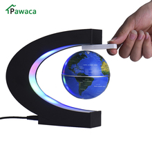 C shape Black Blue Gold LED World Map Home Electronic Magnetic Levitation Floating Globe Antigravity LED Light Gift Decoration