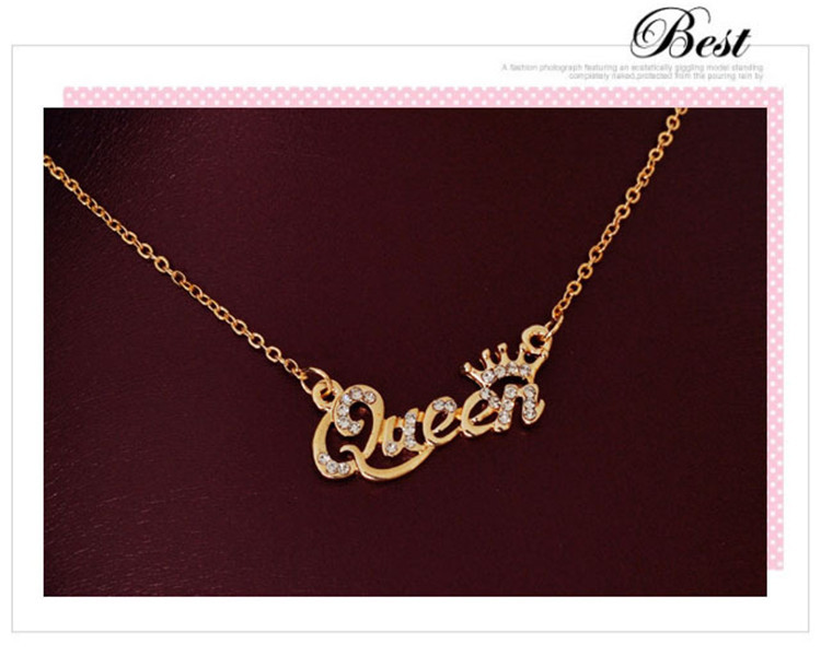 SHUANGR Luxury Gold-Color Queen Crown Chain Necklace Zircon Crystal Necklace Women Fashion Jewelry Birthday Present 7