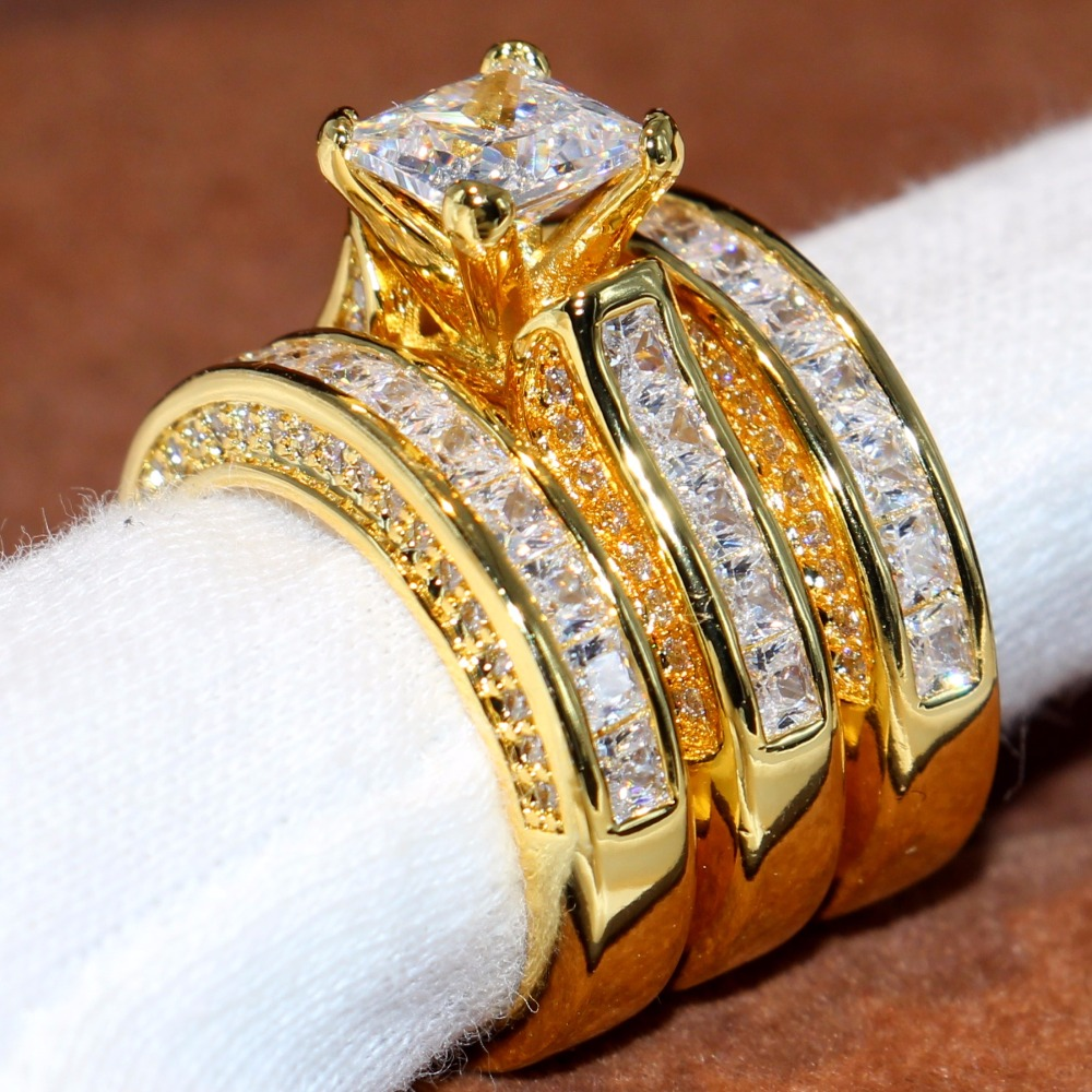 Size 5 11 Sparkling Classic Jewelry 14KT Yellow Gold Filled Princess Cut 5A Cubic Zirconia CZ Party Women Wedding Band Ring Gift