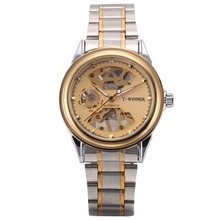 Winner Brand Vogue Automatic Self Wind Golden Case Steampunk Gear Skeleton Steel Band Montre Mechanical Mens Watches Gift/PMW482