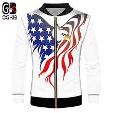OGKB 2018 New Novelty 3d Printed American Flag Eagle Jacket Man/women Causal Hiphop Harajuku Minimalist White Coat Long Sleeve