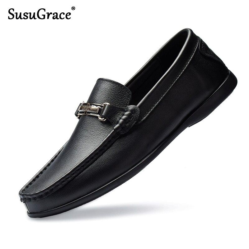 Mocassins en cuir de vache véritable SusuGrace baskets décontractées pour hommes mode doux mâle confortable appartements qualité chaussures humaines plu taille 47