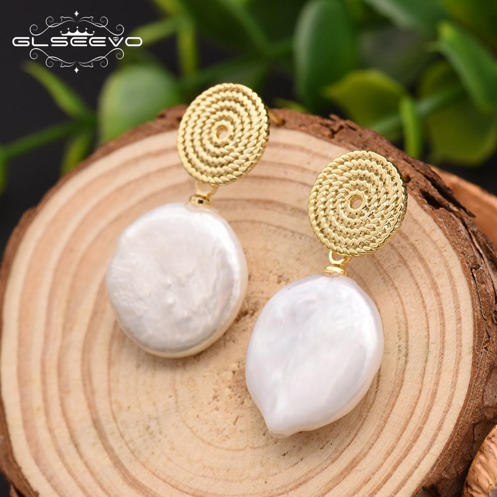 GLSEEVO White Natural Fresh Water Baroque Pearls Round Circle Drop Earrings For Women Engagement Bohemia Dangle Earrings GE0293