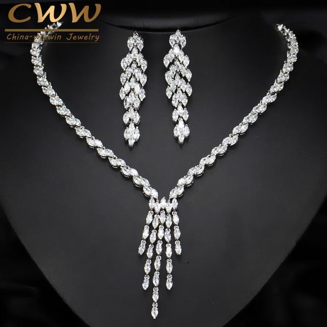CWWZircons חדש הגעה מדהים טאסל Drop מעוקב Zirconia כלה שרשרת ועגילים סט לחתונה תכשיטי T073