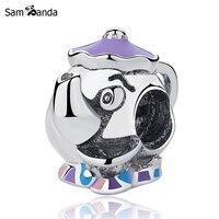 New Authentic 925 Sterling Silver Mrs Potts Chip Bead Charm Fit Pandora Bracelets Bangles Diy Cartoon