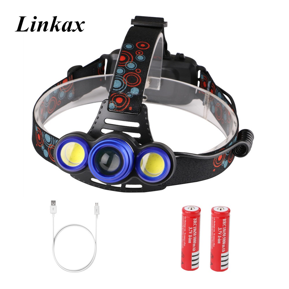 Zoomable 8000LM Head lamp T6+2*COB LED Headlamp Rechargeable Head flashlight linterna 18650 battery Camping Fishing Headlight cob led headlamp rechargeable cob headlight white red green lights 18650 battery head torch flashlight for hunting night fishing