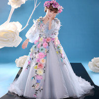2018 Blue Arabic Princess Colourful Flower Girl Dresses For Wedding Ball Gown 3D Floral Flowers Lace