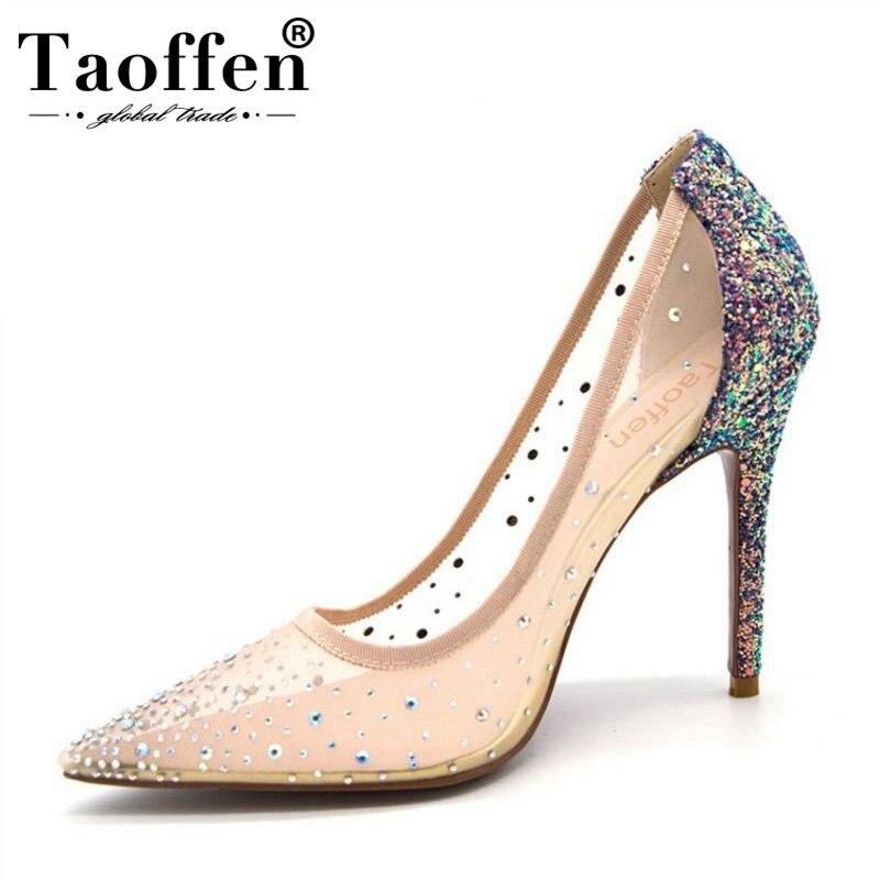 Dames Sur Hauts bleu Talon Argent Bout Transparent Chaussures De Sexy Taoffen Mince Mariage Pointu Pompes Taille Royal 43 Talons 34 Slip Femmes Cristal À qFwnBOYt