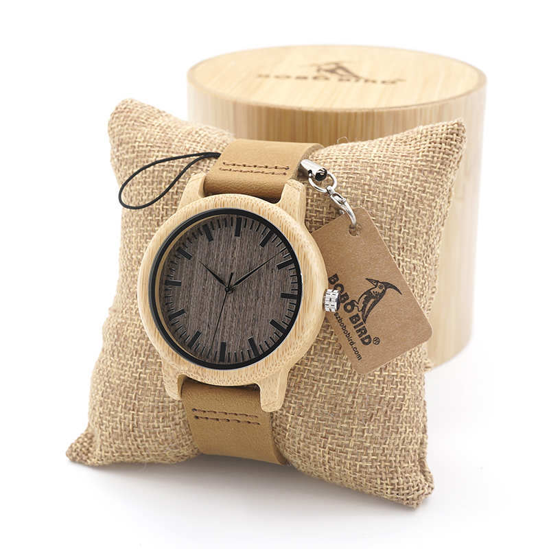 BOBO BIRD High Quality Handmade Bamboo Wood Watches With Real Leather Band in Gift Box Mens Watches bobo bird e21 new arrival bamboo wood men watches with mental quartz watches real leather band janpanese movement in gift box