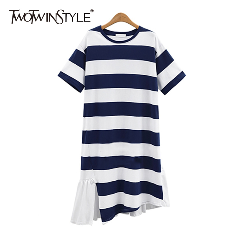 TWOTWINSTYLE Striped T Shirt Summer Dress Female Short Sleeve Patchwork Chiffon Ruffle Casual Midi Dresses Women Plus Sizes 2018