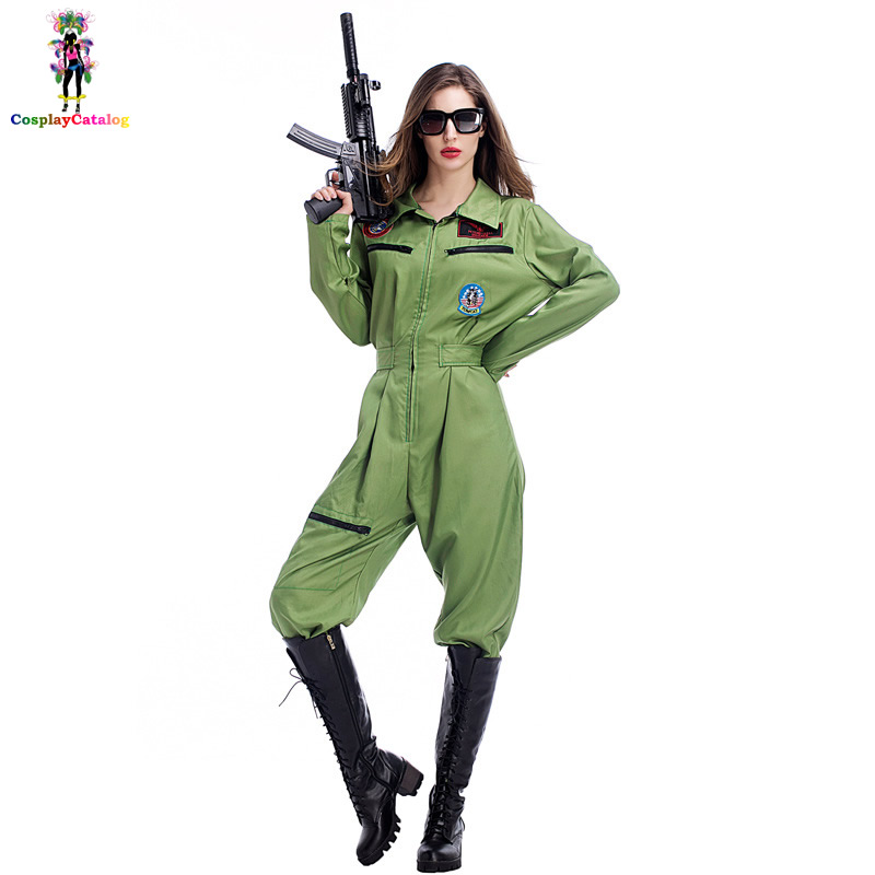 Adult Halloween Womens Sexy Top Gun Flight Suit Costume Female Pilot Disguise Party Rompers Flight Captain Costumes