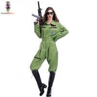 Dorosłych Halloween Kobiet Sexy Top Gun Przebranie Party Pajacyki Kobiet Pilot Lotu Flight Garnitur Kostium Kapitan Kostiumy