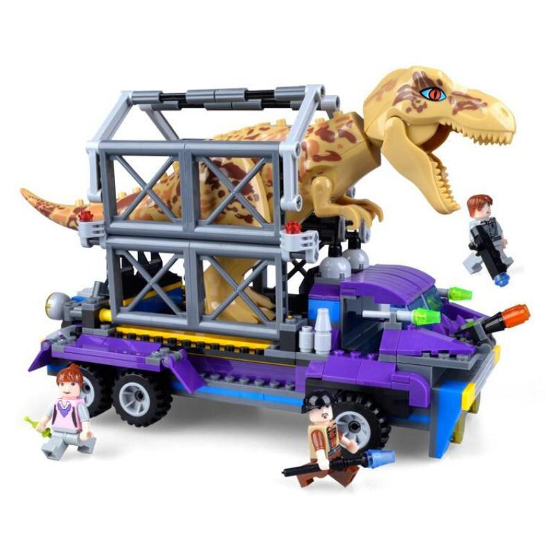 TS8001 385pcs Jurassic World 2 Building Blocks Legoings Dinosaur Tyrannosaurus Rex Tracker Figures Block Brick Toys Model 37 cm tyrannosaurus rex with platform dinosaur mouth can open and close classic toys for boys animal model without retail box