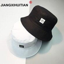 Nuevo sombrero de verano mujeres hombres Panamá sombrero del cubo sonrisa  cara diseño plana visera pesca pescador sombrero Bob C.. 514cb5c1db5