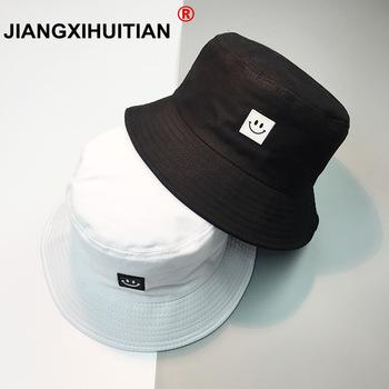 Nowy kapelusz na lato kobiety mężczyzna Panama kapelusz typu Bucket uśmiech projekt twarzy płaski osłona przeciwsłoneczna wędkarstwo rybak Bob kapelusz Chapeu Femmes Hip Hop tanie i dobre opinie jiangxihuitian COTTON WOMEN Dla dorosłych Mieszkanie hats for women men Wiadro kapelusze Na co dzień List
