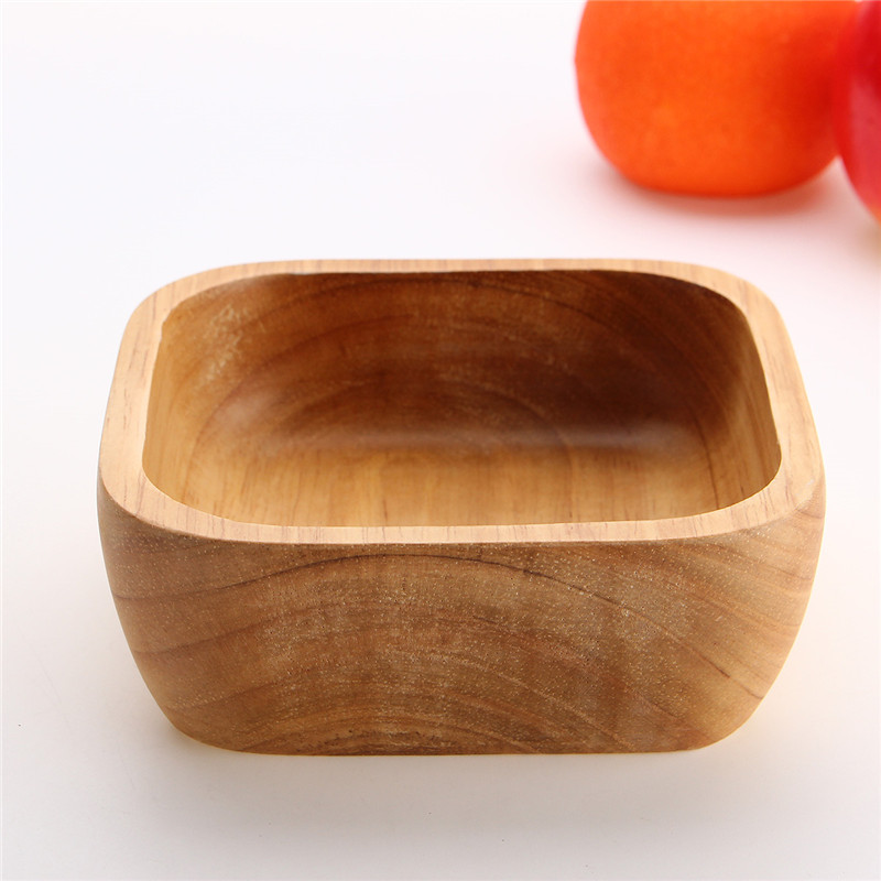 natural wooden salad bowl chinese soup rice noodles bowls kids lunch box kitchen tableware for baby