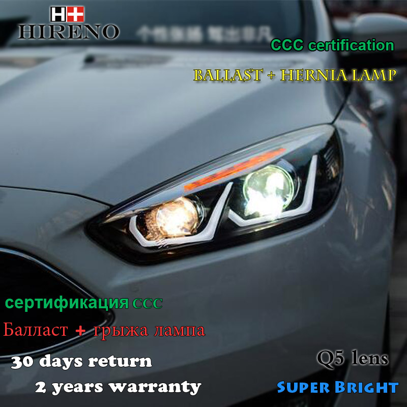 Hireno Headlamp For 2017 Ford Focus Headlight Embly Led Drl Angel Lens Double Beam Hid Xenon 2pcs In Car Light From Automobiles