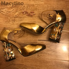 Macytino Beading Heel Pumps Ankle Strap Round Toe Mary Janes Silver Mirro Leather Dress Shoes summer mary janes bling multi gem rhinestone studs metal cage heel satin women ankle strap bridal crystal wedding pumps shoes