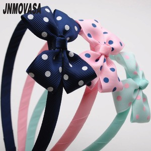 "1 piece high quality polka dot grosgrain ribbon 2 1/2"" inches long hair ribbon bow hairbands girls headband tiaras(China)"