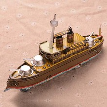 Retro Tinplate Warship Clockwork Collections Vintage Tin Wind Up Toys Classic Handmade Ship Crafts