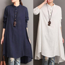 e7b37d99ccb0e Telotuny shirt for female China style Womens Kaftan Cotton Linen Long Sleeve  Loose Blouse Tops Shirt Baggy Pullover JL 04