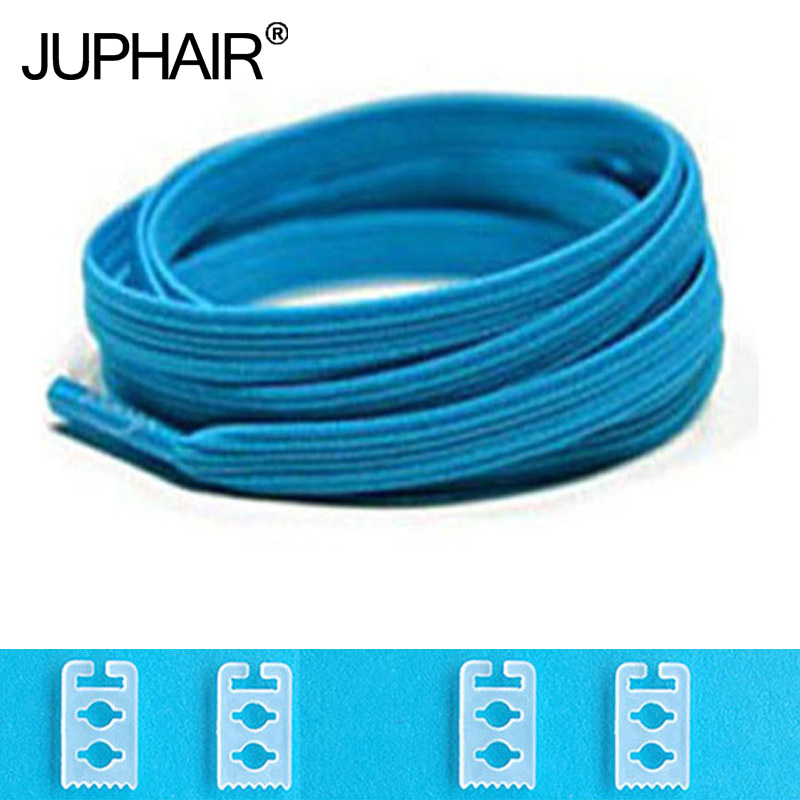 JUP 1-50 Pair Blue High Quality New Design Children Without Tie Rubber Elastic Lace Sneakers Shoelaces Sports Shoes Lacing Blue active plain design sports hoodies in light blue