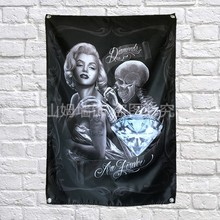 Marilyn Monroe Tattoos Poster Banners Bar Club Tattoo Studio Decor Hanging Painting Waterproof Cloth Polyester Fabric Flags(China)