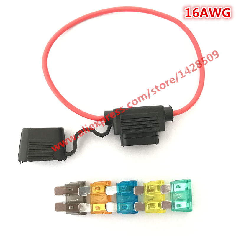 16 AWG Medium Car Fuse Holder Waterproof Automotive Fuse Holder With Cover Inline Blade Fuse Holder Auto With Free Fuse 1pcs waterproof auto inline mini in line fuse holder 1pcs fuse inserts
