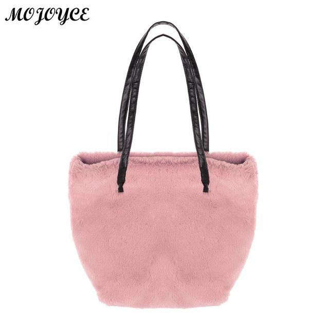 fc9a80c948 2018 Fashion Women Handbag Solid Color Luxury Handbags Faux Fur Bag Autumn  Winter Imitation Fluff Shoulder Bags Top-handle Totes