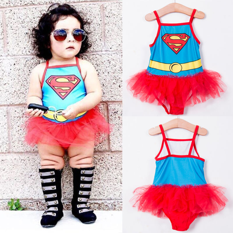 Little Girls One-piece Superman Harness Swimsuit Baby Girl Cartoon Beachwear Bathing Suit Swimwear Mesh Swimmers Bikini Costume one piece mexican bola cage cell little girl harmony angel caller sound bell necklace