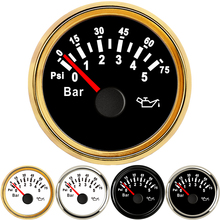 2inch 52mm Oil Pressure Gauges Boat Waterproof oil press meter 0-5Bar Fuel Pressure Gauge fit Marine Auto With Backlight 12V 24V все цены
