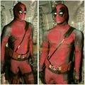 2016 Anime Superhero Deadpool Halloween Costume Disfraces Onesie Deadpool Cape Cosplay Costumes Men Adult