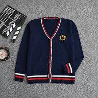 New Dark Blue Red Color Knitted Cotton Sweater V Neck Long Sleeved Cardigan Uniform Cos JK