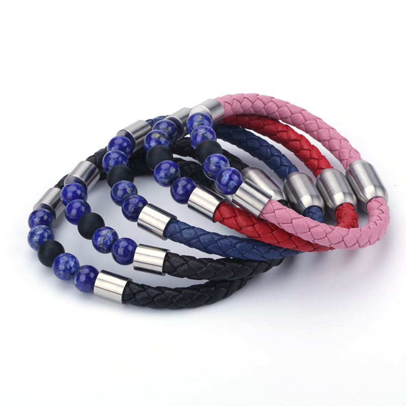 New Style Magnetic Bracelets Fill Beads Leather Strand Bracelet With Magnetic Clasp Wristband Rope Braided Bracelets For Women