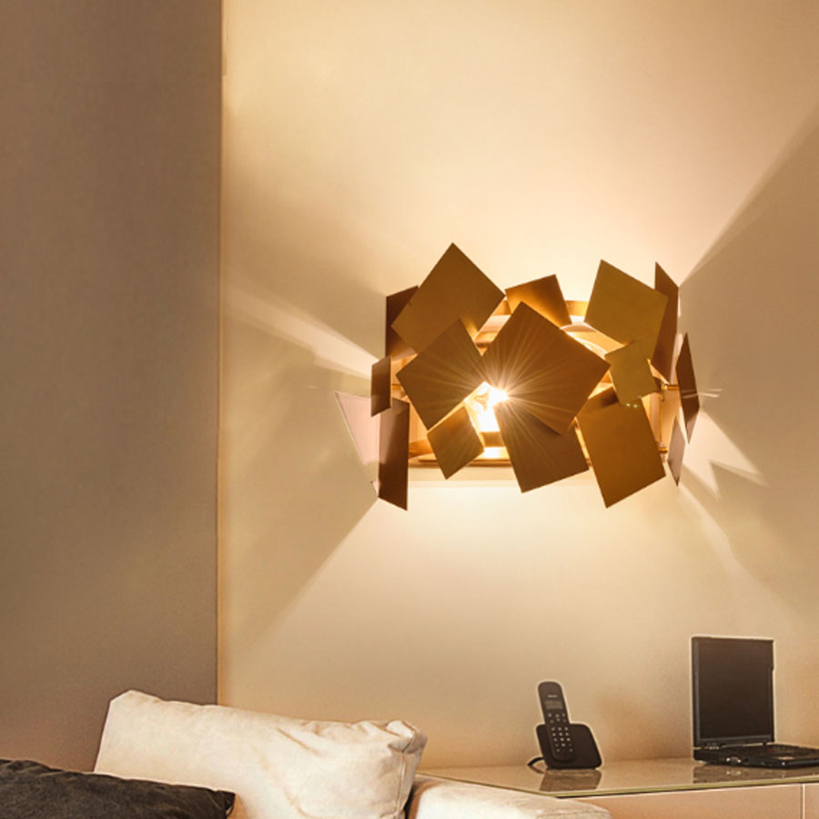 Modern Popular Design Stainless Steel Gold Bedroom Wall Lamp Hotel Aisle Corridor Led Lights Living Room Sconce
