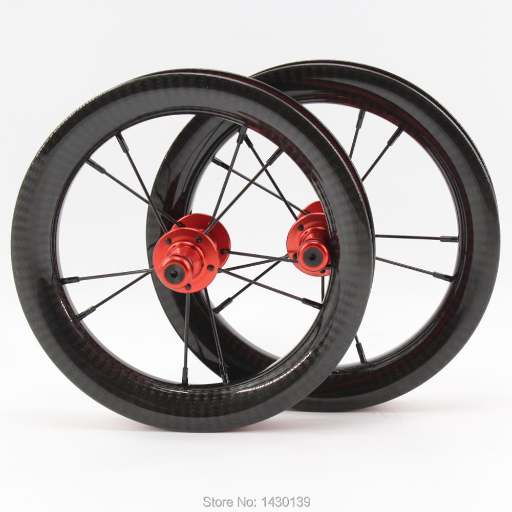 Newest 12 inch 25mm Slide car Push bike Scooter twill 3K full carbon fibre bicycle wheelset