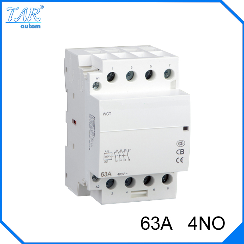 цена на Din rail household AC contactor 63A 4NO 220V/230V Household contact module Din Rail Modular contactor
