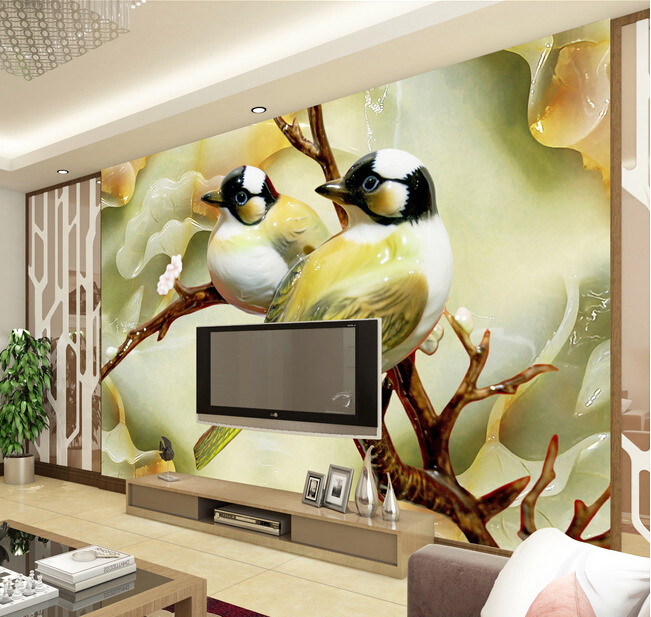 Custom 3D wallpaper, bird wallpaper for walls 3d murals for living room bedroom TV background wall vinyl papel de parede custom green forest trees natural landscape mural for living room bedroom tv backdrop of modern 3d vinyl wallpaper murals