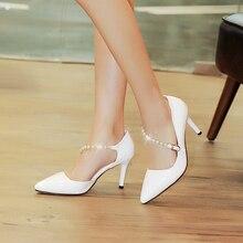 Large size women wedding shoes fashion ladies pointed toe casade pumps girls sweet stiletto high heel comfortable footwear 6511
