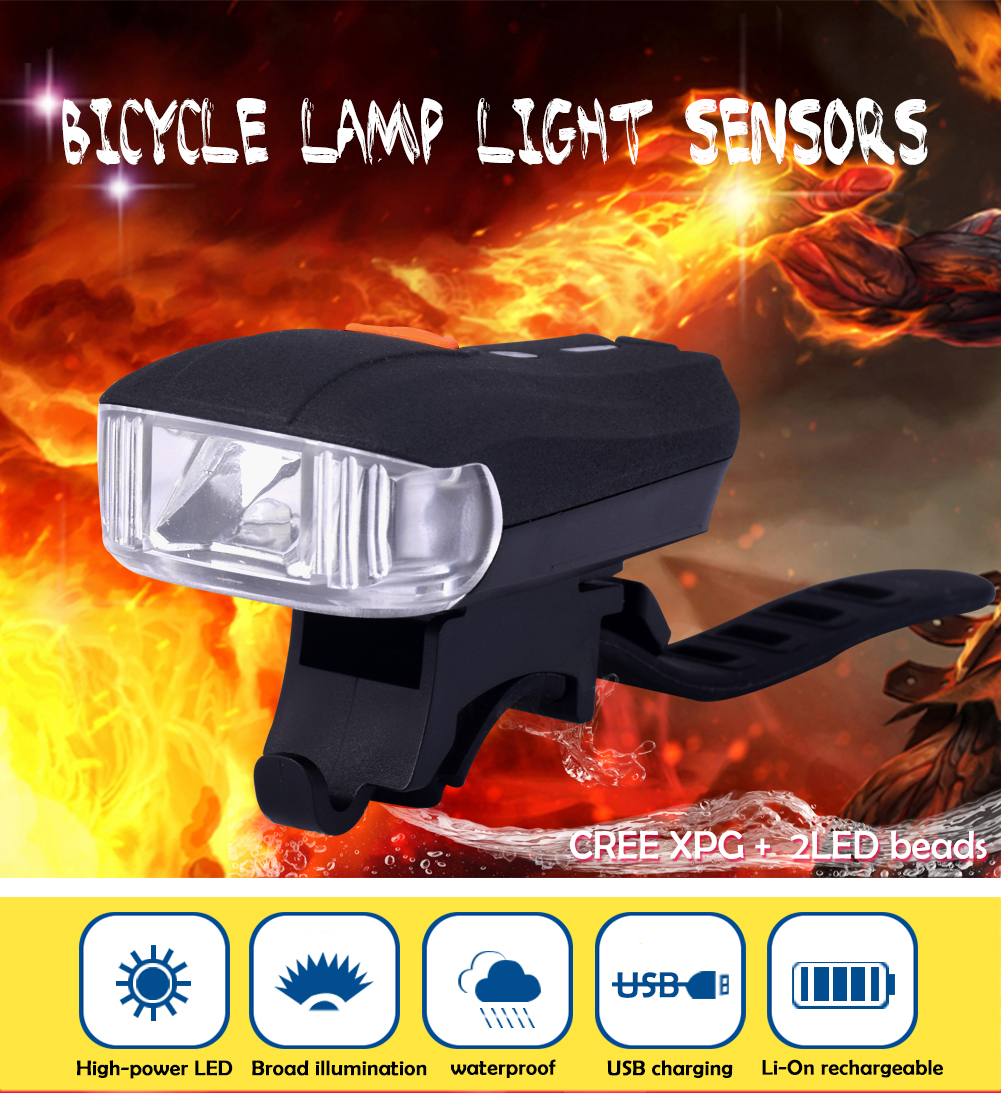 TSLEEN Free Shipping! Rechargeable USB Bicycle Headlight Red Cool White Bike Front Safety Warn Sensor Lamp 400LM Waterproof new free shipping motorcycle red front