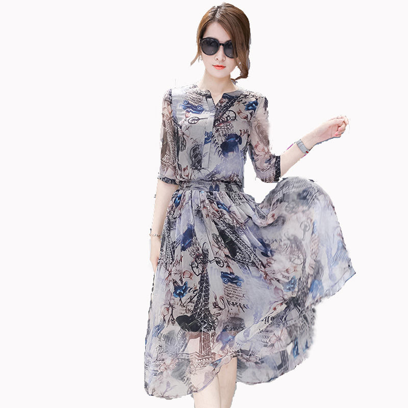 Female dress summer 2018 summer womens summer plus size half sleeve chiffon one-piece dress full dress