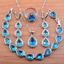 Amazing 925 Silver Jewelry Set Sky Blue Crystal Women Costume Wedding Jewelry CZ Earrings Necklace Rings Bracelet Sets JS0182(China)