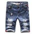 Good quality men's Big hole Slim short Jeans 2016 New fashion summer Cotton Male Light Blue Casual denim shorts Size 36