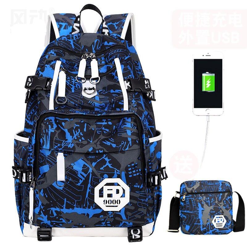 3pcs Set Waterproof Men Backpack Male Large Travel Bag With External Usb Port Black Chest Bag