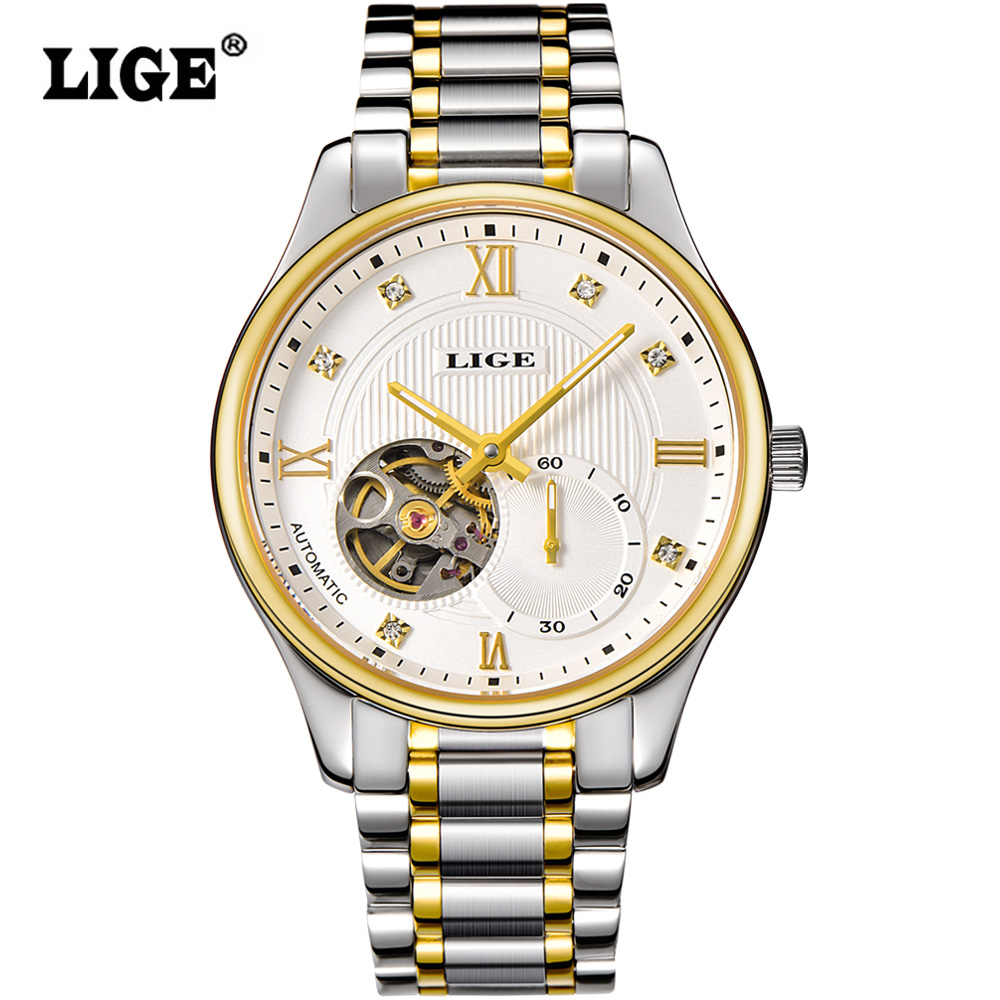 LIGE 2016 Mens Automatic mechanical Watches Top Brand Luxury Full steel Watch Men Dive 50M Business Wristwatch relogio masculino купить